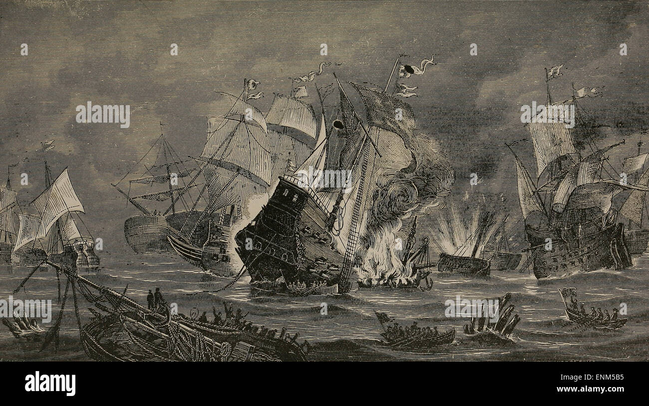 Events succeeding The Armada - Sir Francis Drake in Central America - Stock Image