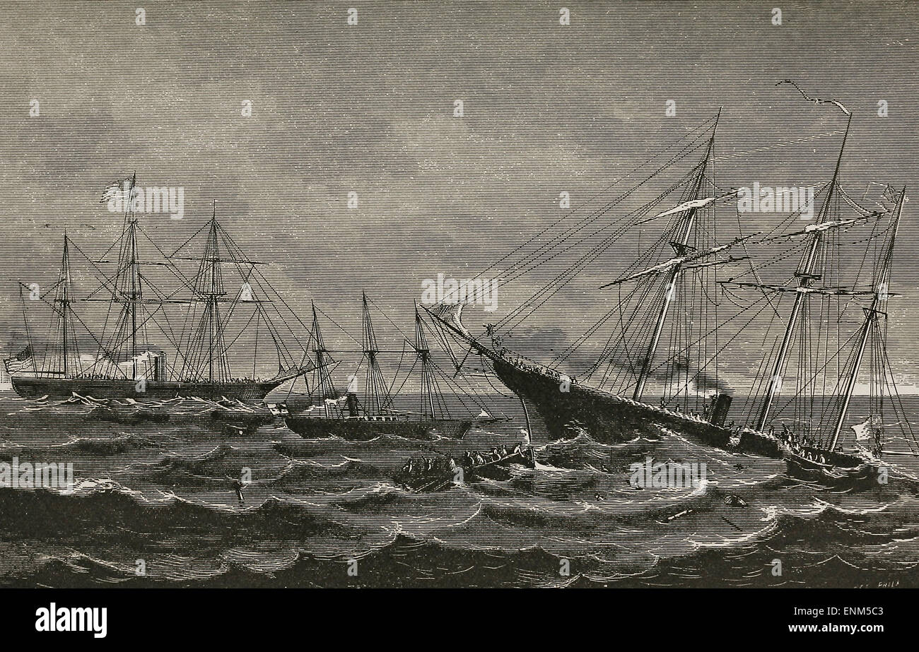 Sinking of the Alabama by the Kearsarge, off Cherbourg, France - Stock Image