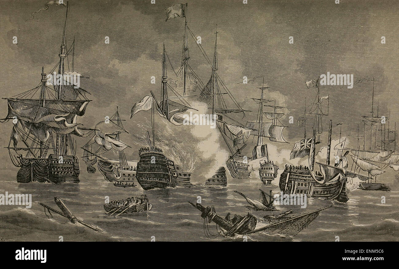Battle of the Nile French Flag Ship L'Orient, 120 Guns, on Fire, 1798 - Stock Image