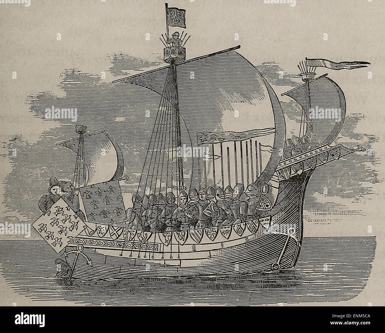 Norman Ship of the 14th Century - Stock Image