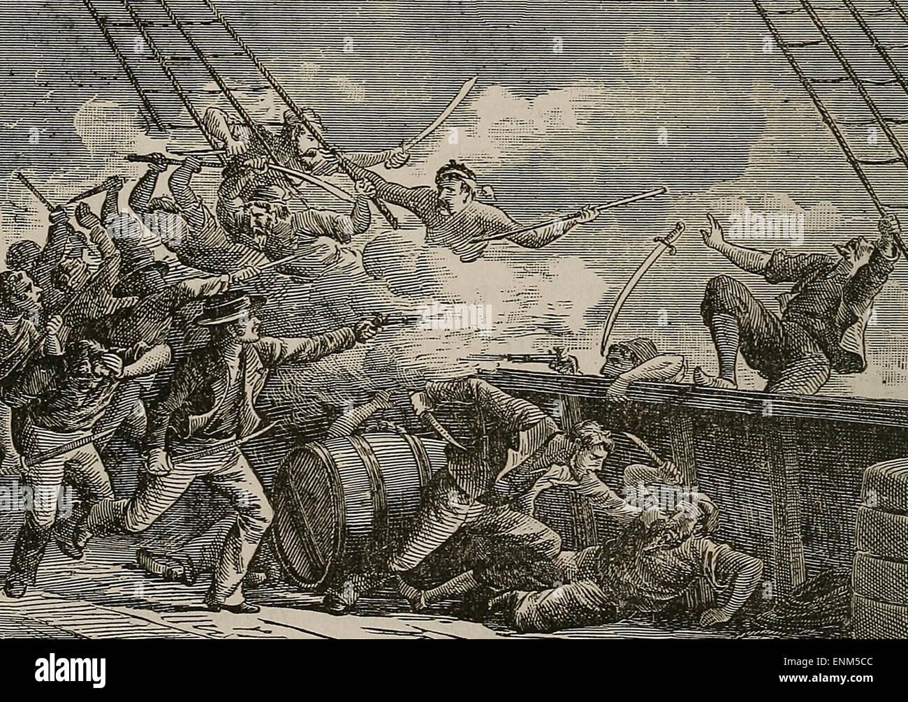 Fight with Algerine (Algerian) Pirates - Stock Image