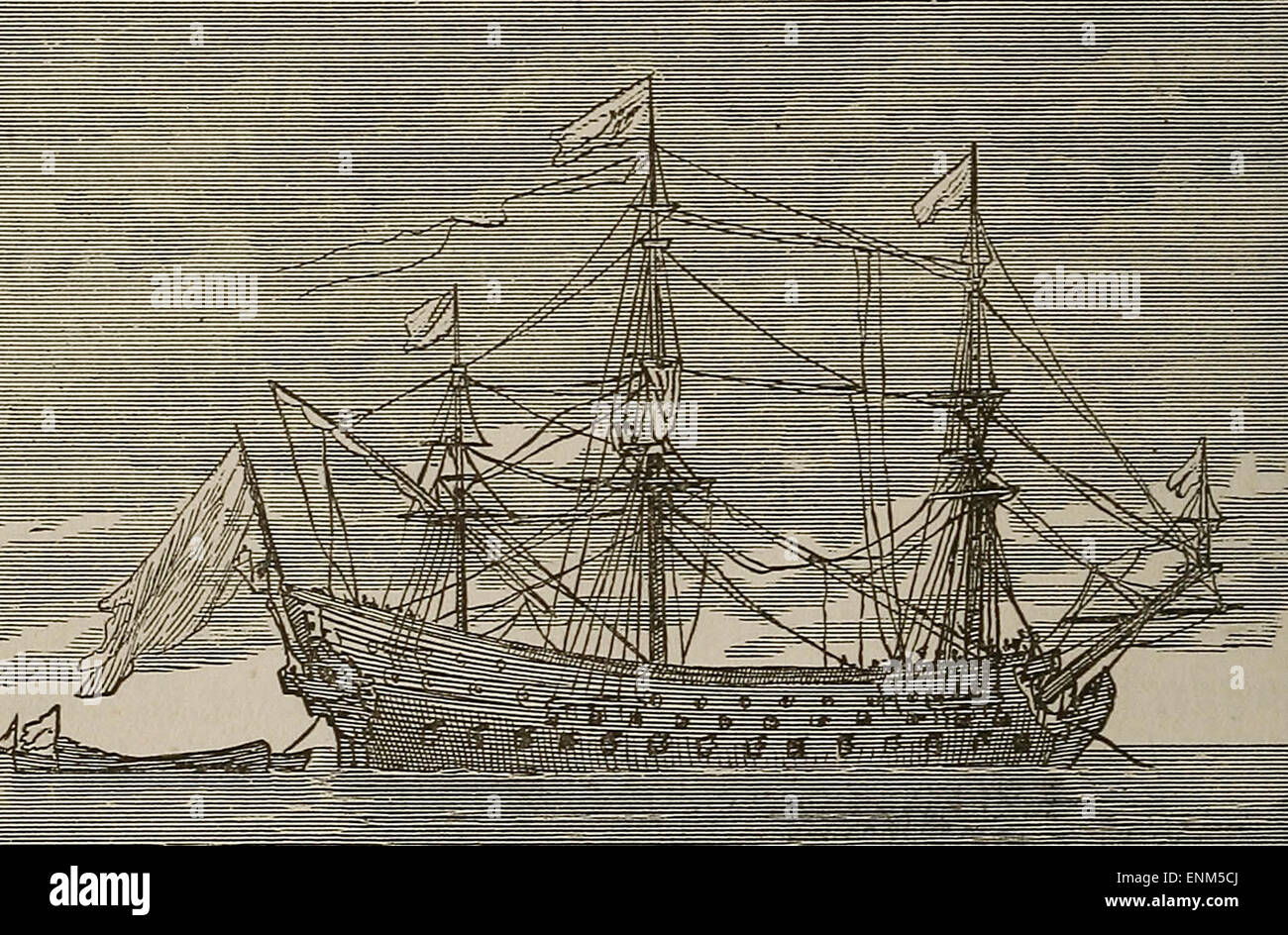 Le Soleil Royale - A famous French 120-Gun Ship, 17th Century, Built by Colbert - Stock Image