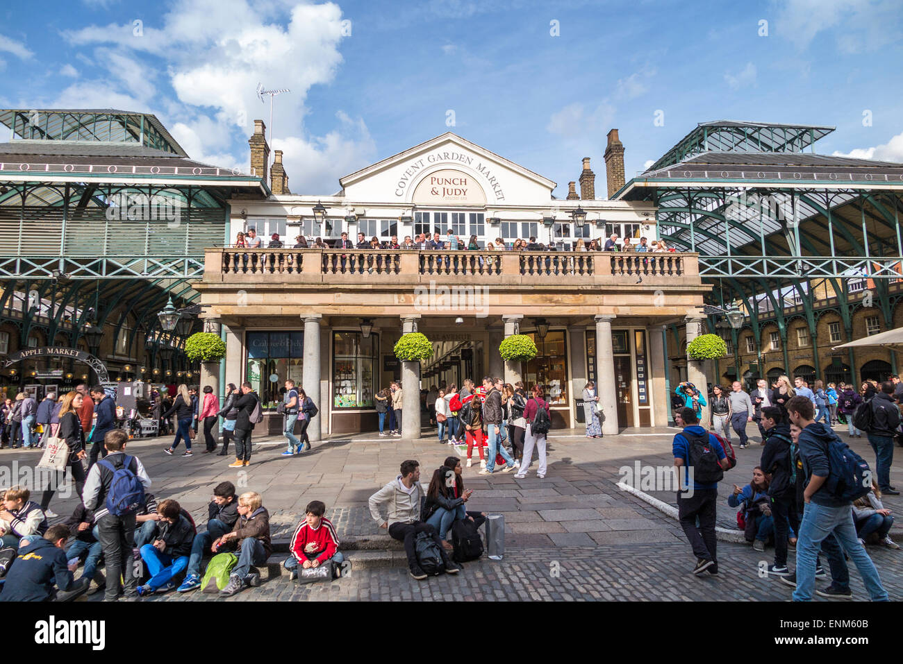 Punch & Judy Balcony Bar on a balcony on a historic building in Covent Garden Market in the West End of London, - Stock Image