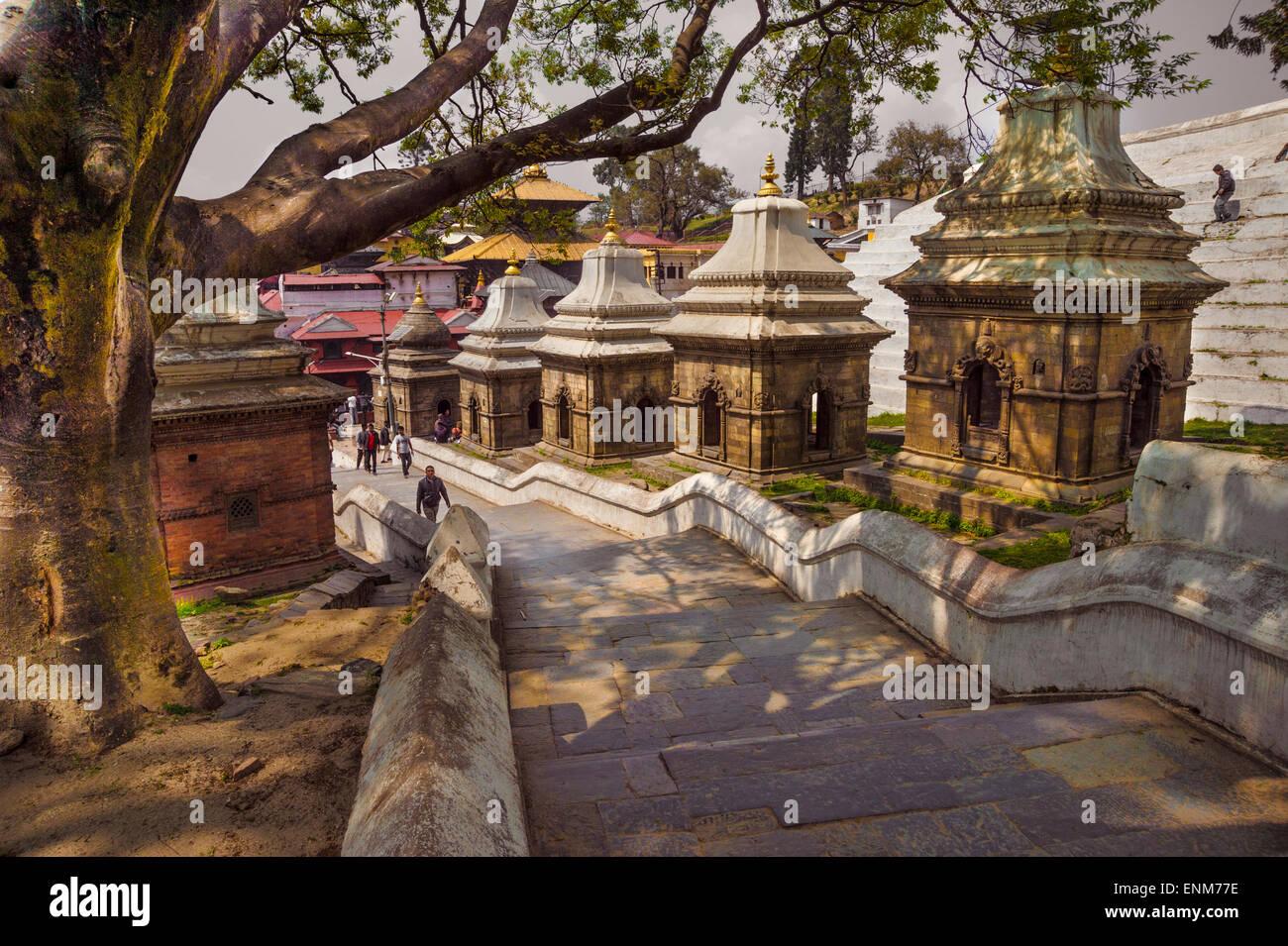 Chaityas at Pashupatinath Temple in Kathmandu, Nepal - Stock Image