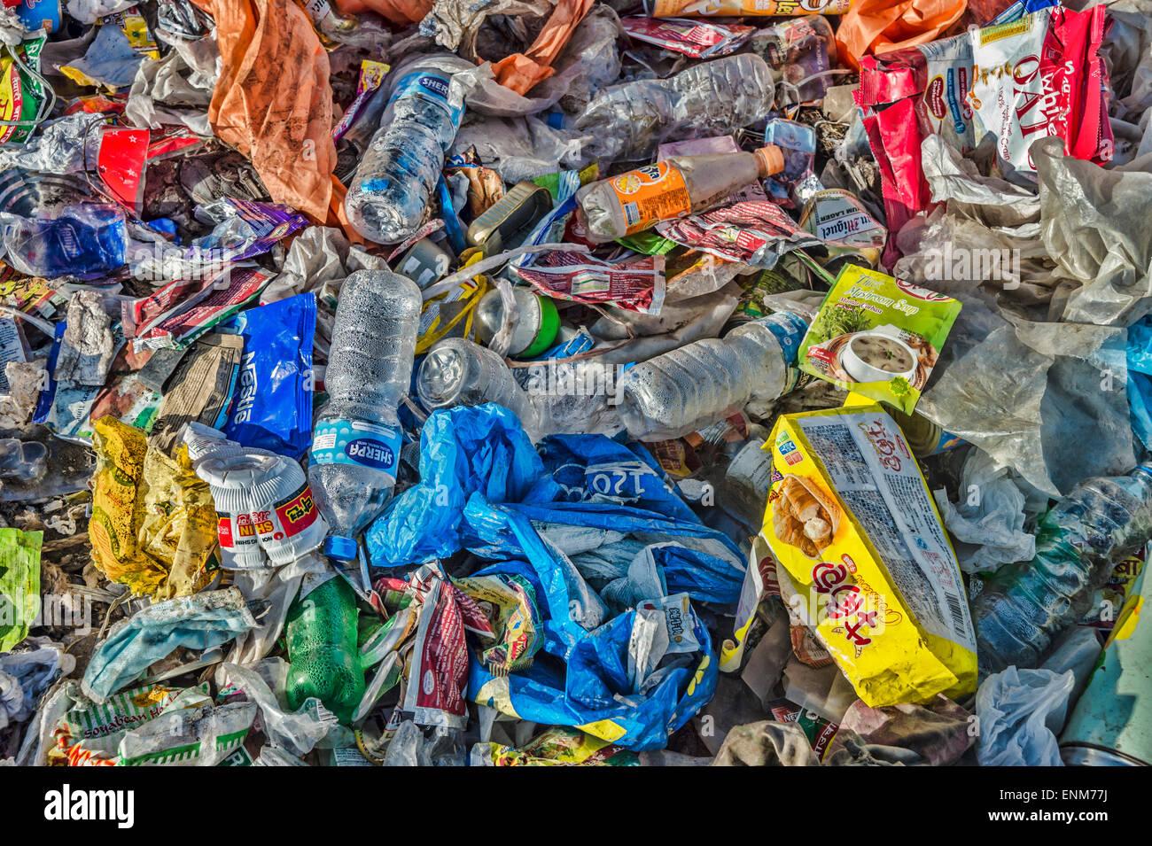 Garbage Dump in the Himalayas, Nepal - Stock Image