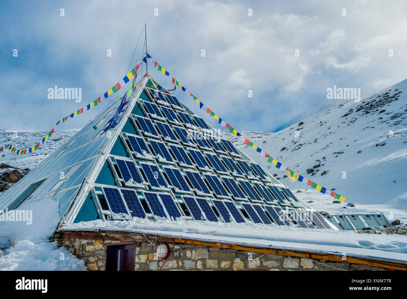 High-altitude scientific research center in the Himalays, Aka the Italian Pyramid. - Stock Image
