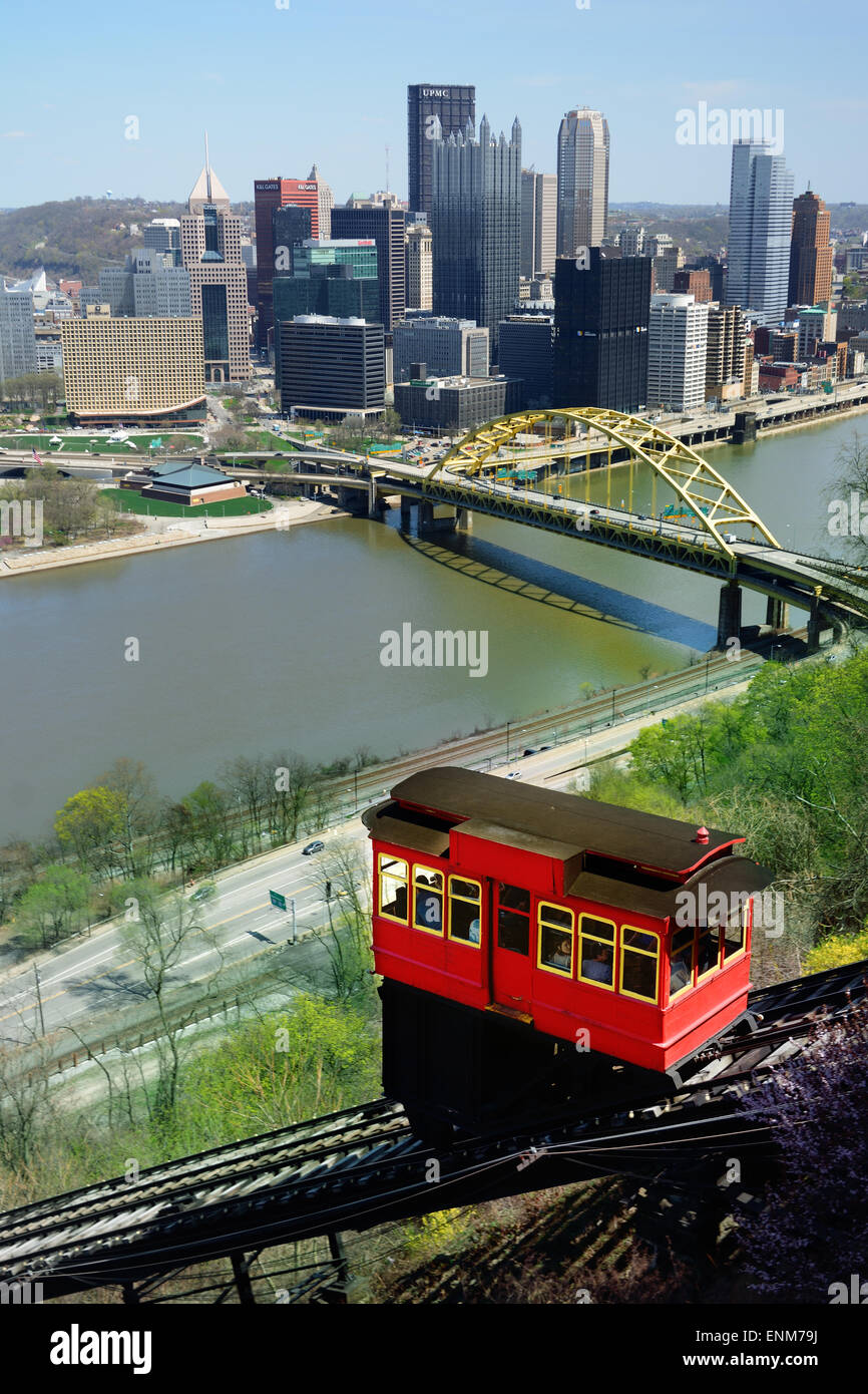 The Duquesne Incline, Pittsburgh, Pennsylvania, with the Monongahela River and city of Pittsburgh skyline - Stock Image