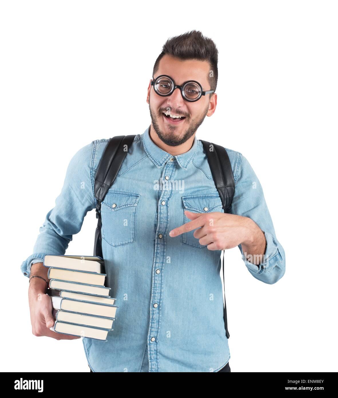 Books boy nerd - Stock Image