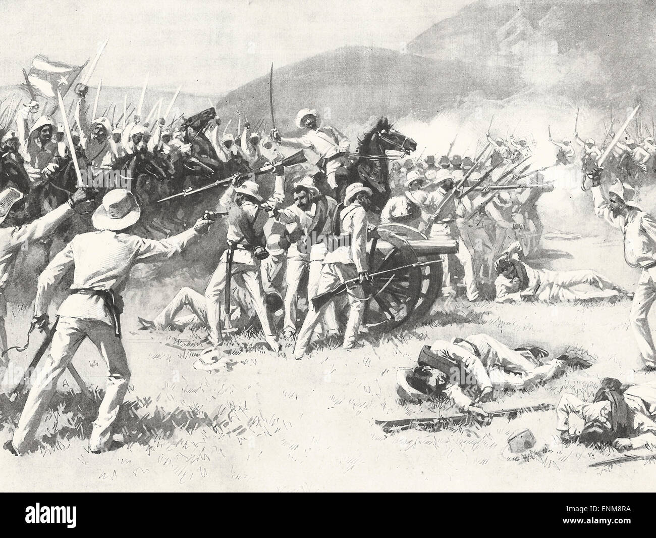Insurgents capturing a Piece of artillery from the Battalion Alfonso XIII in the Battle of Lechuza during the Cuban Stock Photo