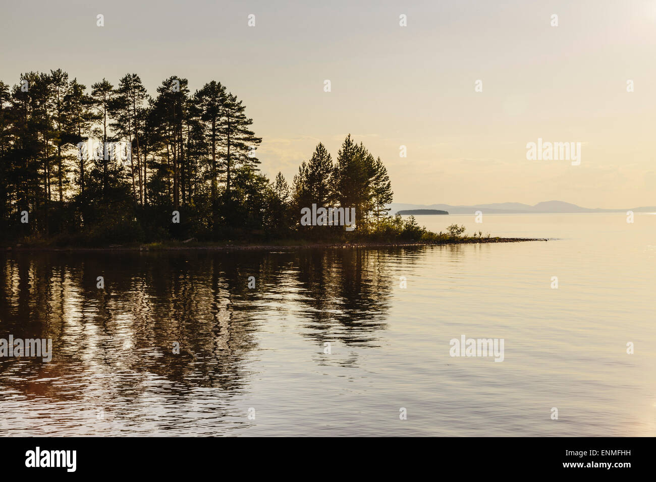 Lake Siljan at sunset in Tallberg Dalarna County, Sweden - Stock Image