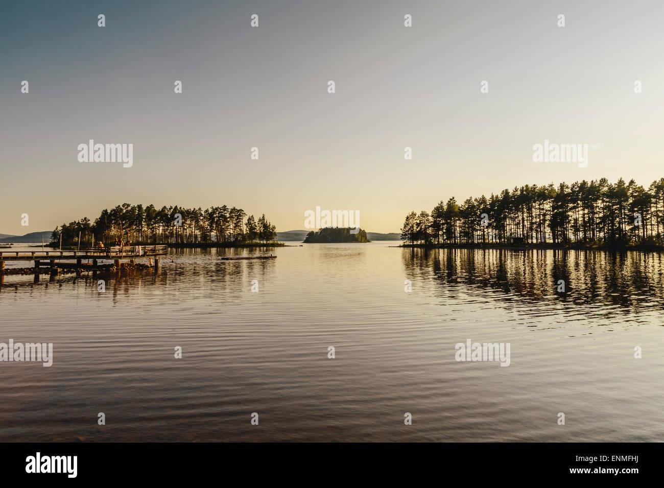Lake Siljan at sunset in Tallberg Dalarna County, Sweden Stock Photo
