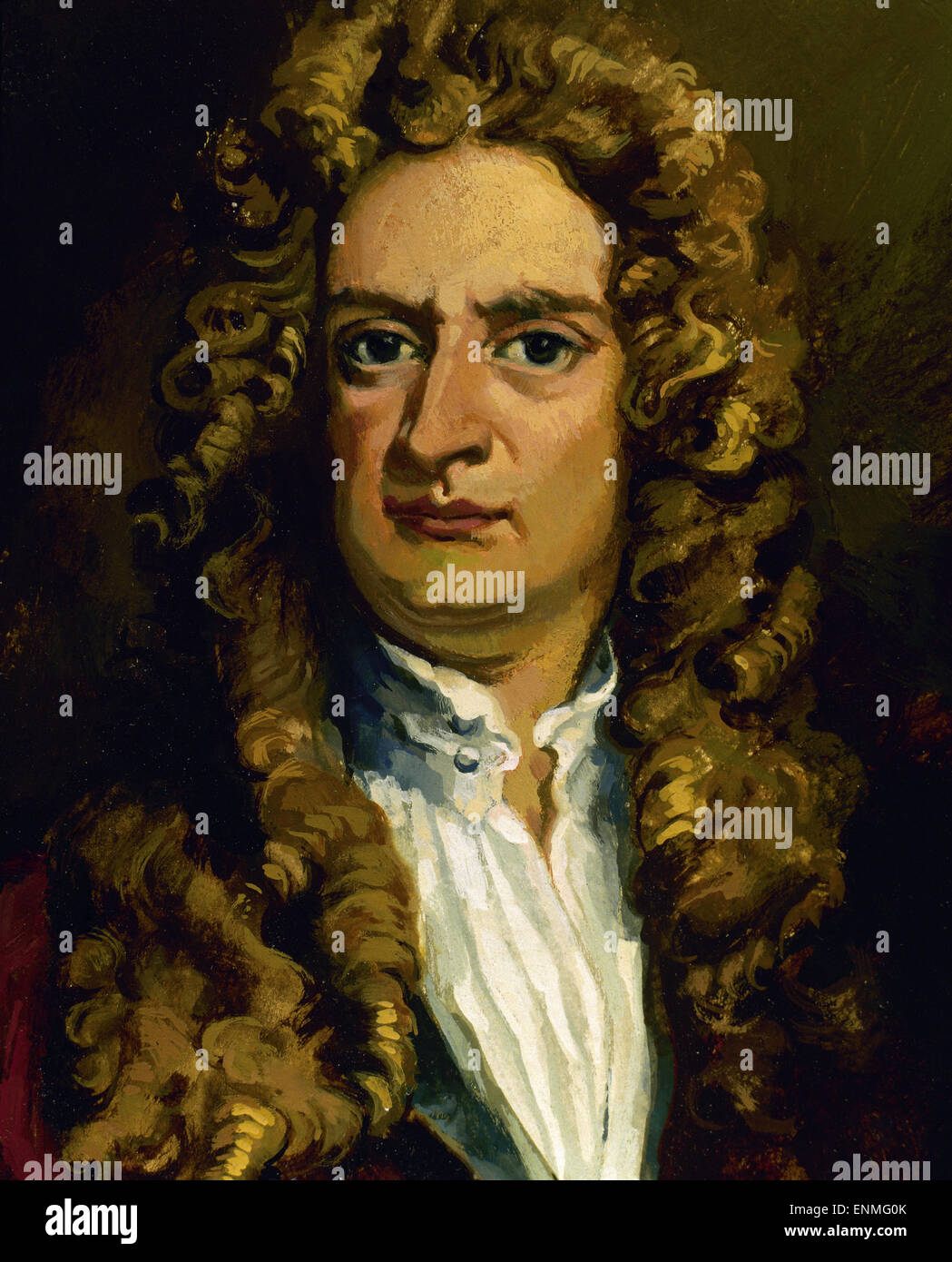 Isaac Newton (1642-1726). English physicist and mathematician. Portrait. Color. Stock Photo