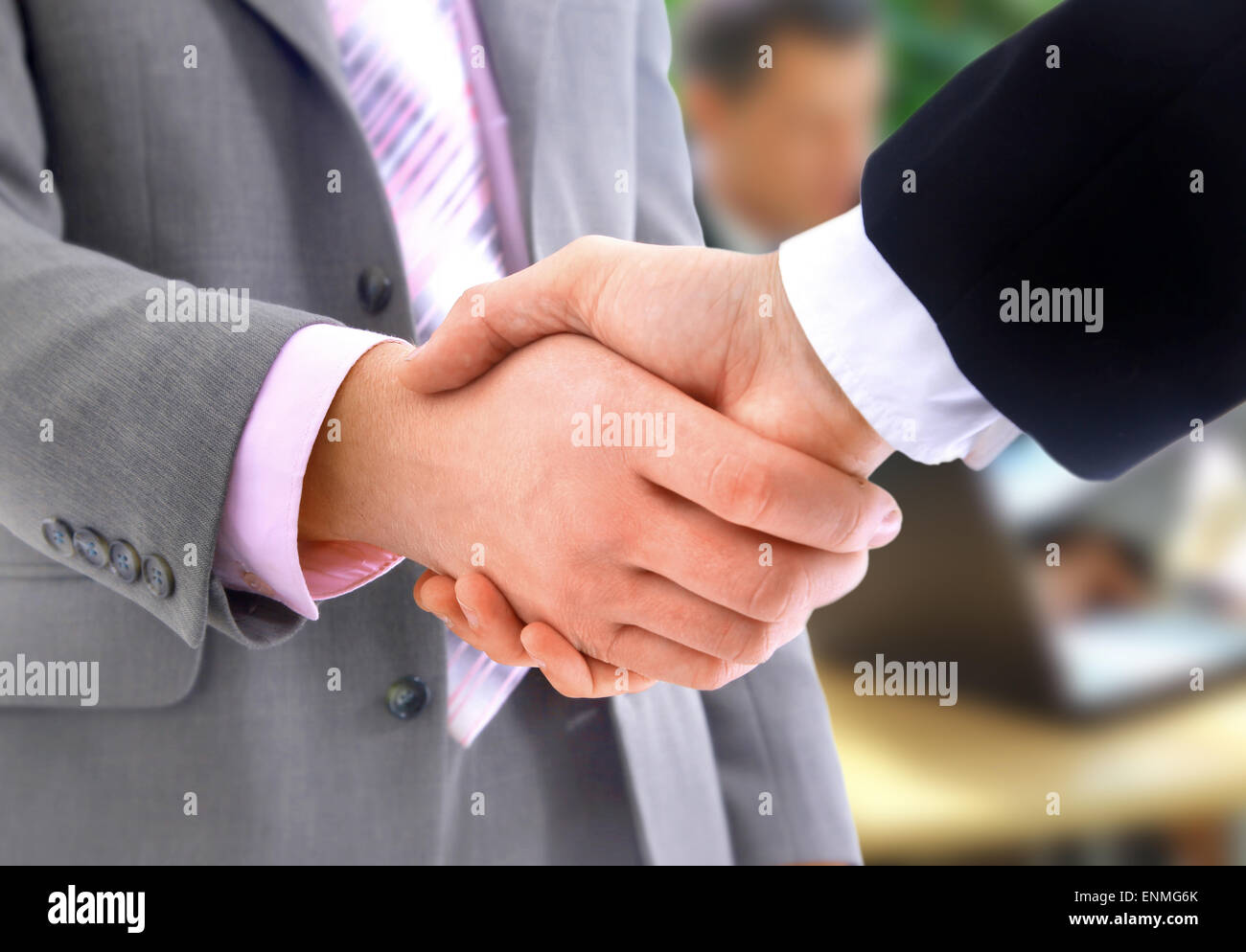 Communicate and handshake - Stock Image