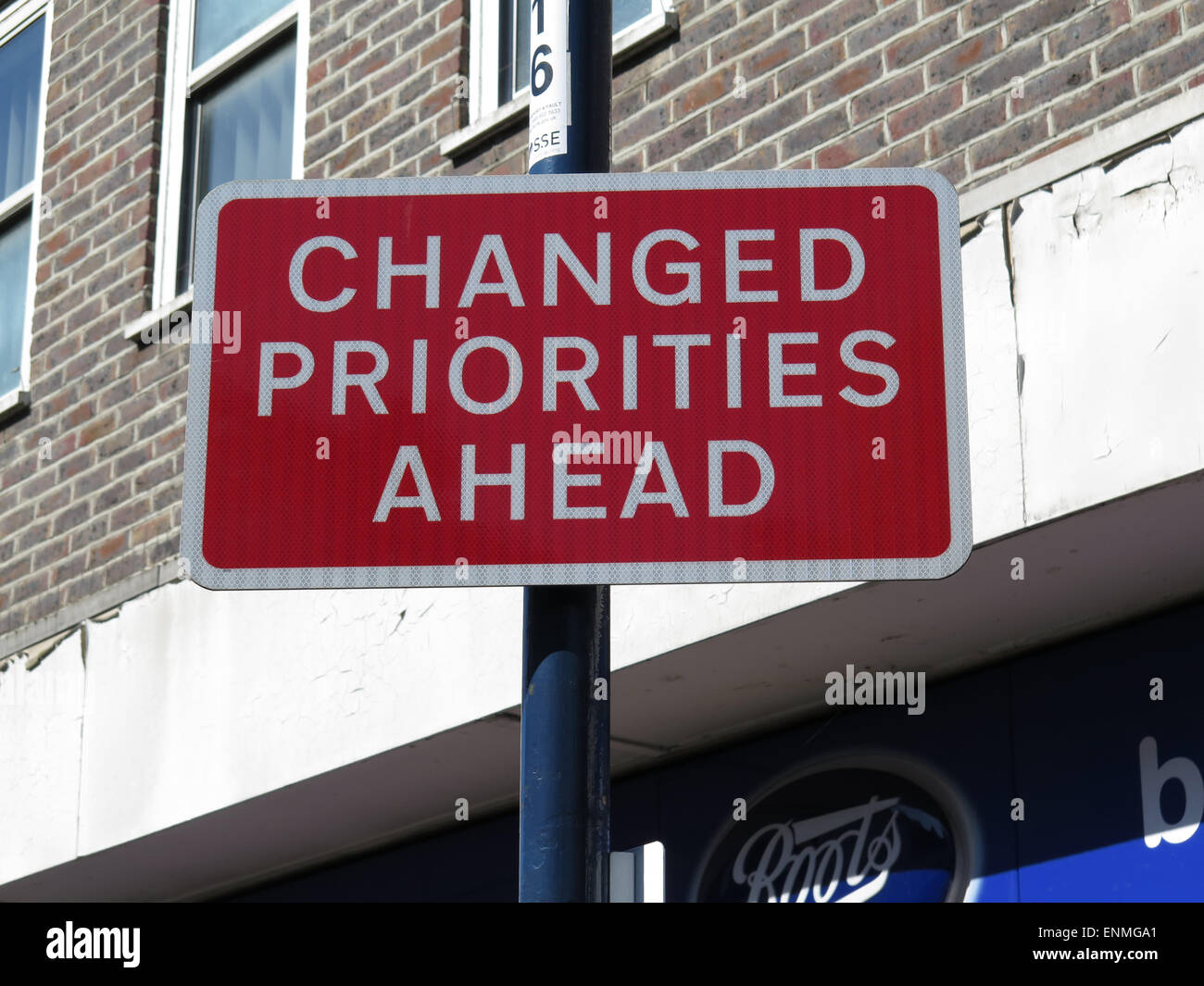 changed priorities ahead sign - Stock Image