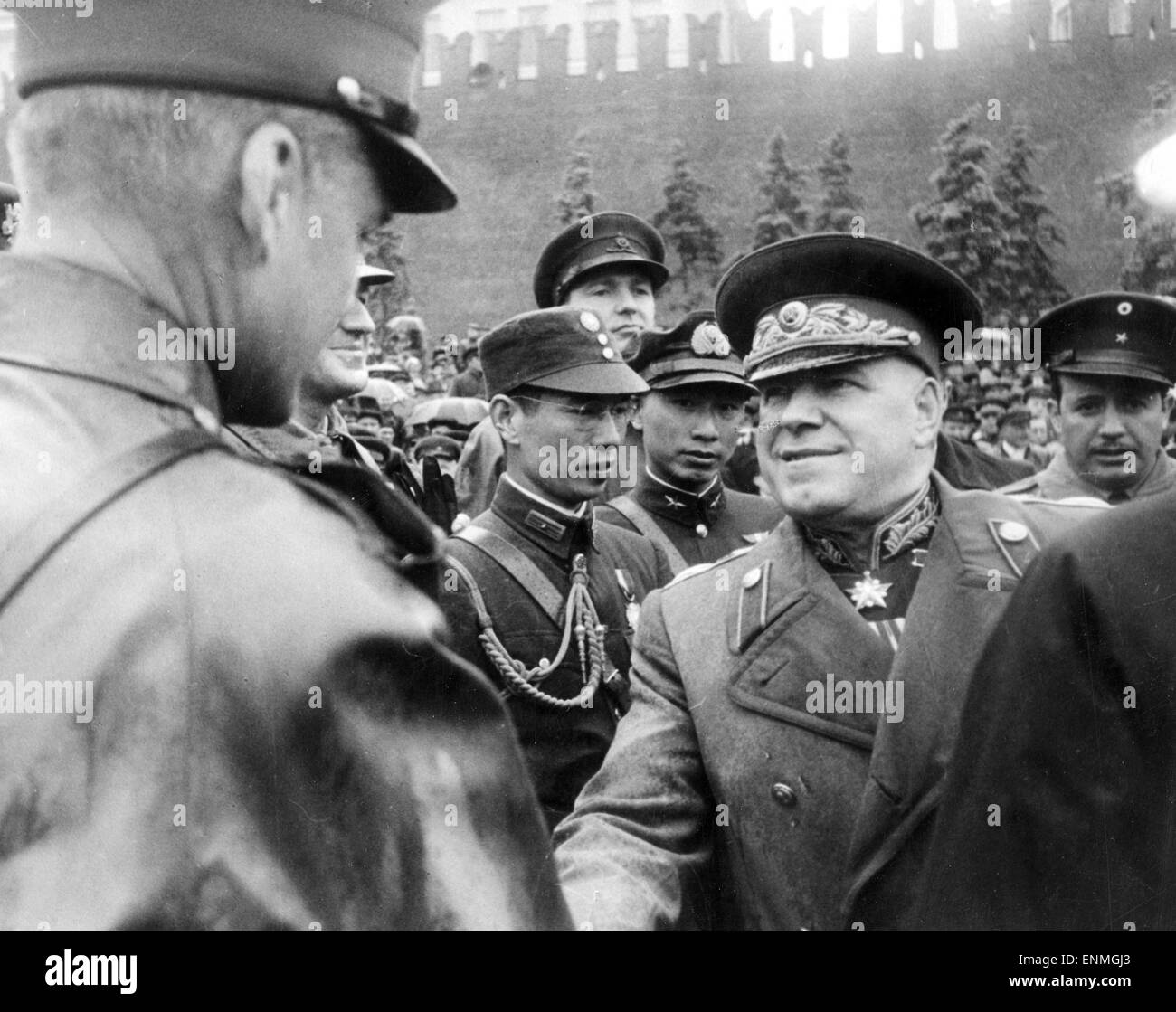 GEORGY ZHUKOV (1896-1974) Soviet Army commander greets foreign military representatives at the June 1945 Moscow Stock Photo