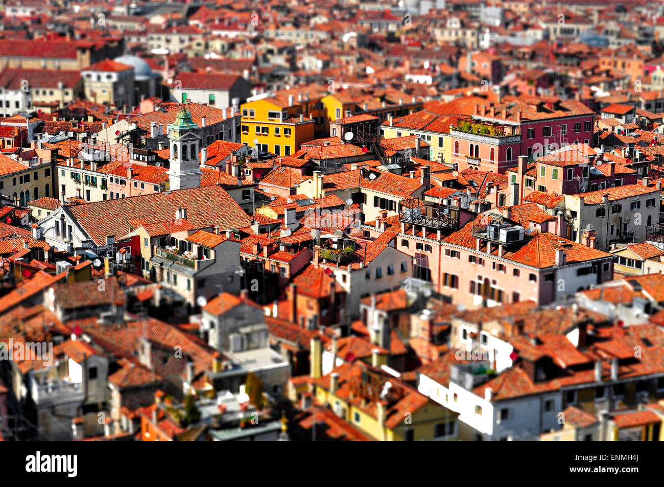 a view of Venice roofs, in Italy, with tilt shift lens effect - Stock Image