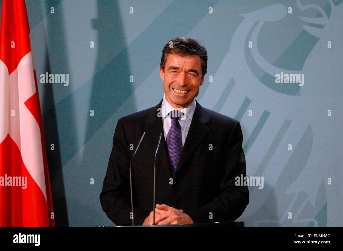 der daenische Ministerpraesident Anders Fogh Rasmussen - Presseunterrichtung vor Gespraech mit BKin Merkel im Bundeskanzleramt Stock Photo