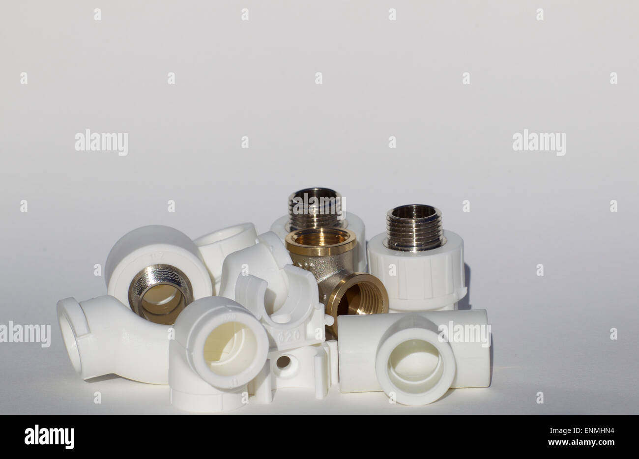 various fittings for water supply pipelines - Stock Image