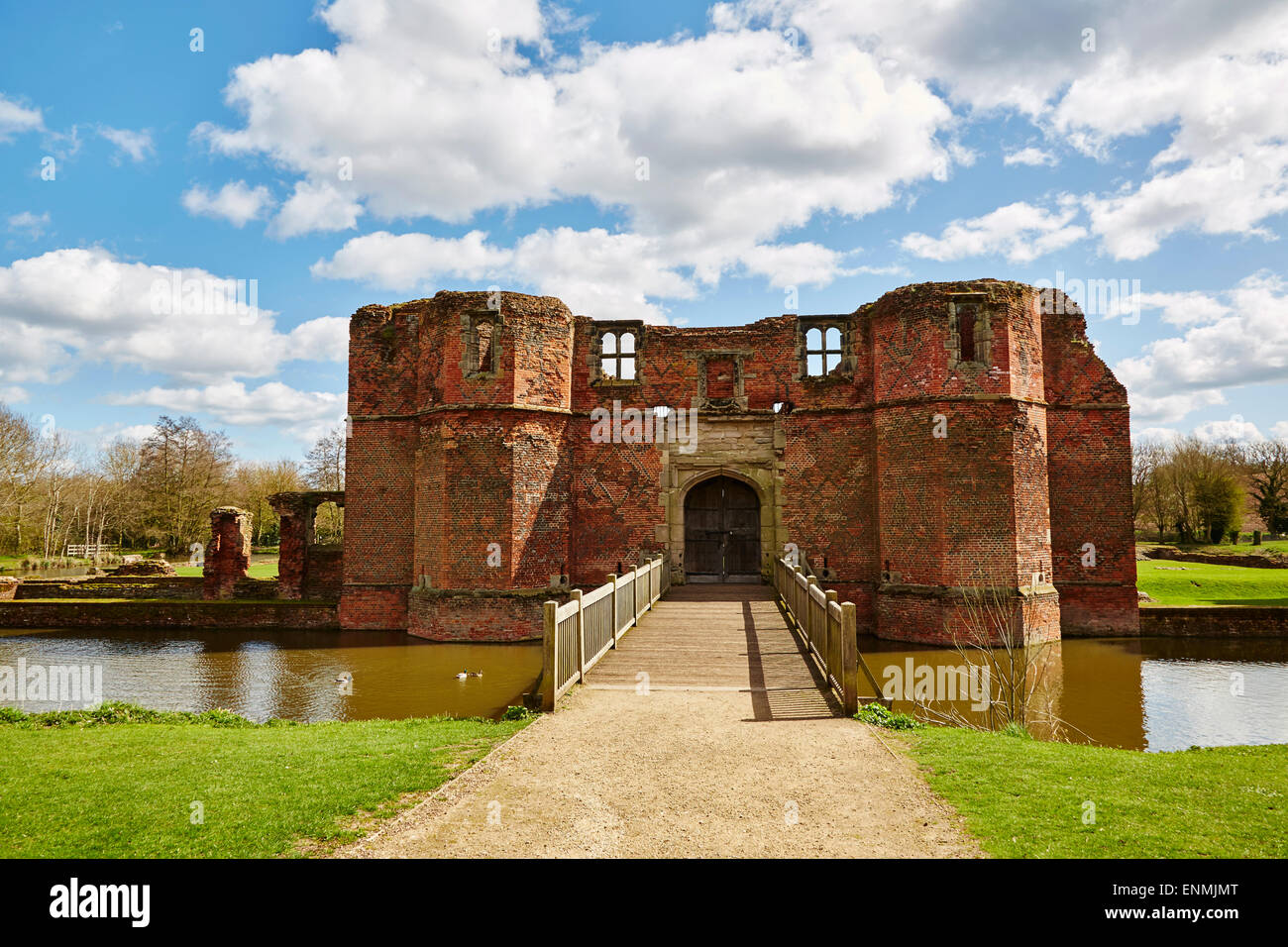 View of Kirby Muxloe Castle, Leicestershire. - Stock Image
