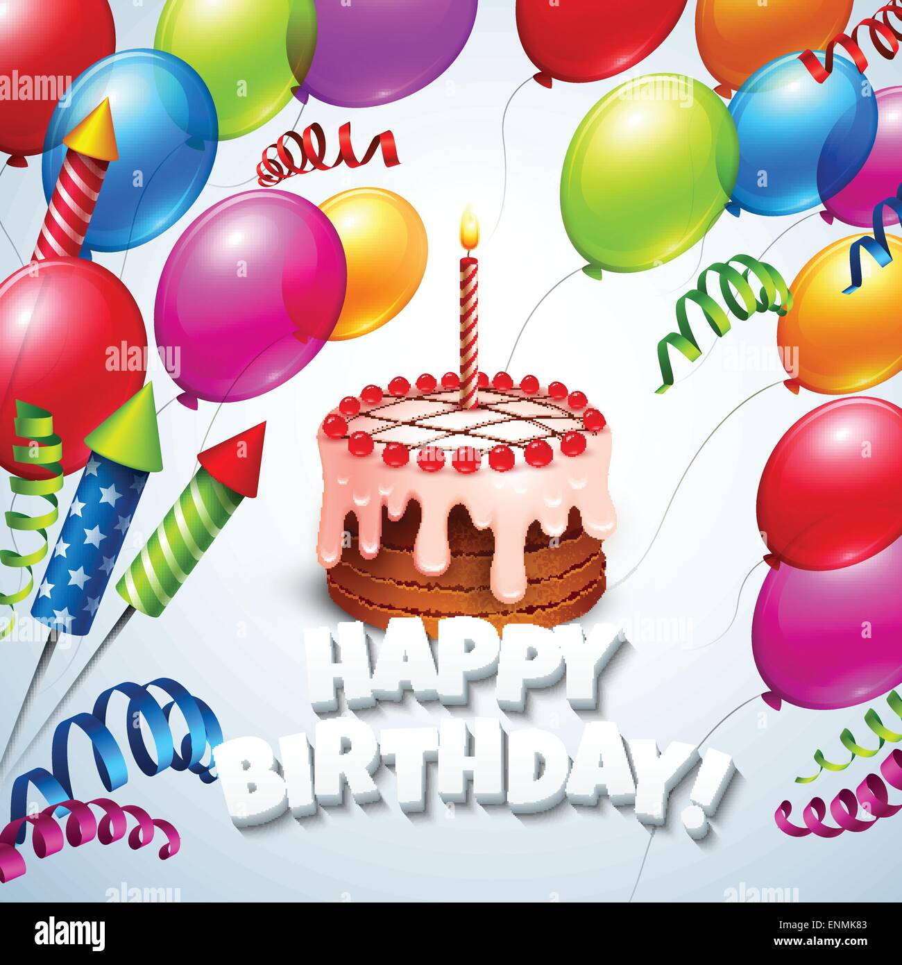 Happy Birthday Greeting Card With Cake And Balloons Vector Illustration EPS 10