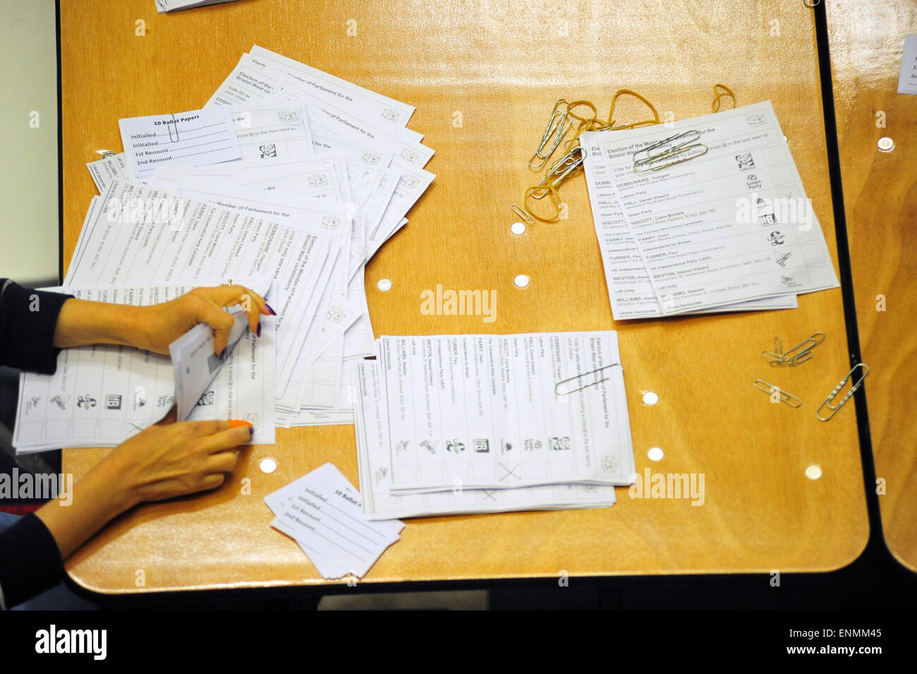 Bristol, UK. 8th May 2015. The vote count in Bristol West. Labour Party Candidate Thangam Debbonaire was elected - Stock Image