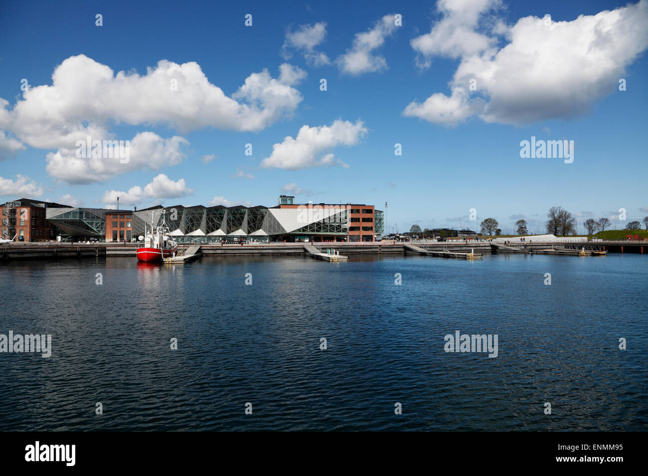 The Culture Yard and the underground Danish Maritime Museum to the right in the port of Elsinore / Helsingør, Denmark Stock Photo