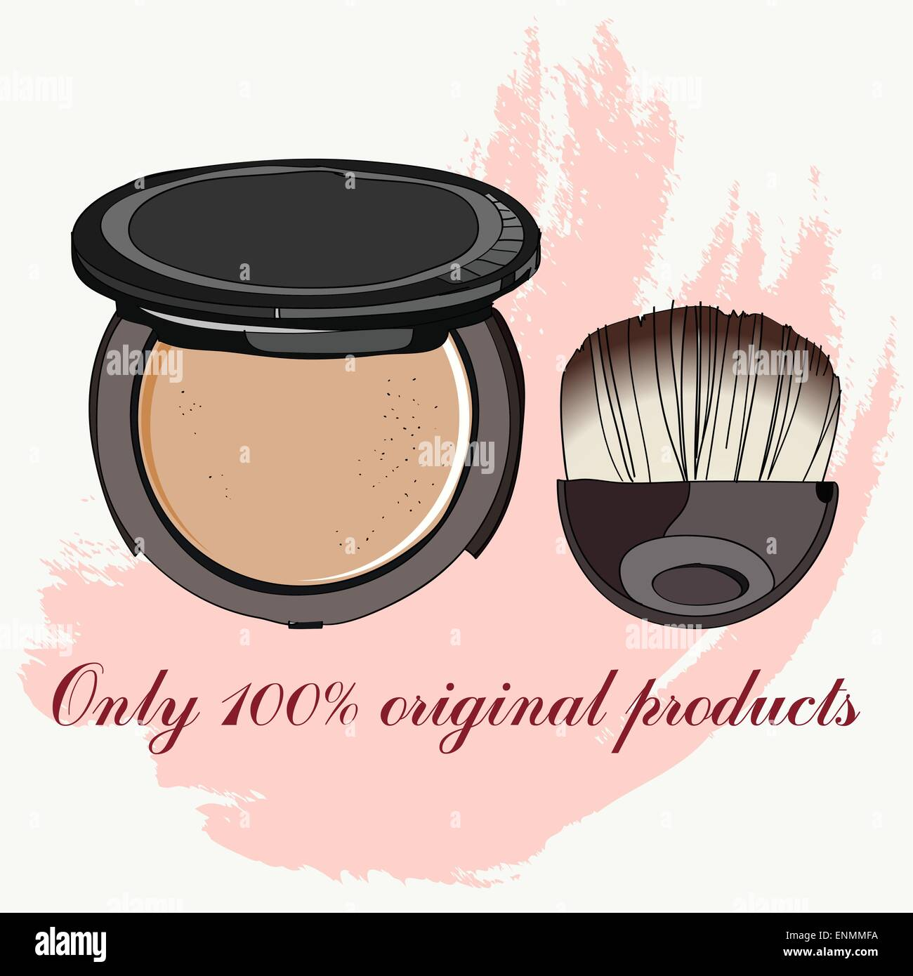 face powder and brush. vector illustration for cosmetic banners, brochures and promotional items