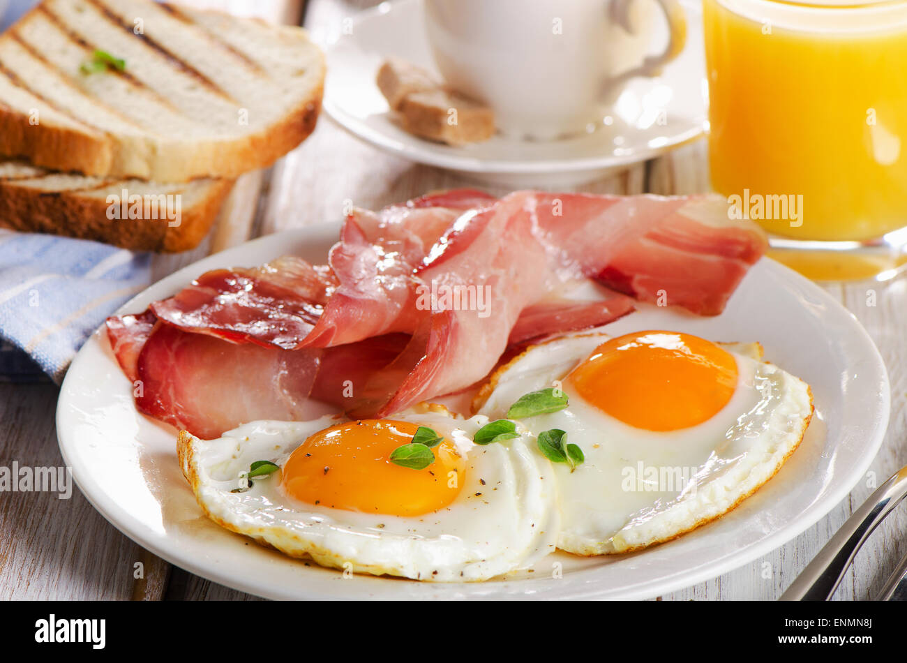 Two Eggs And Bacon For Healthy Breakfast Selective Focus Stock