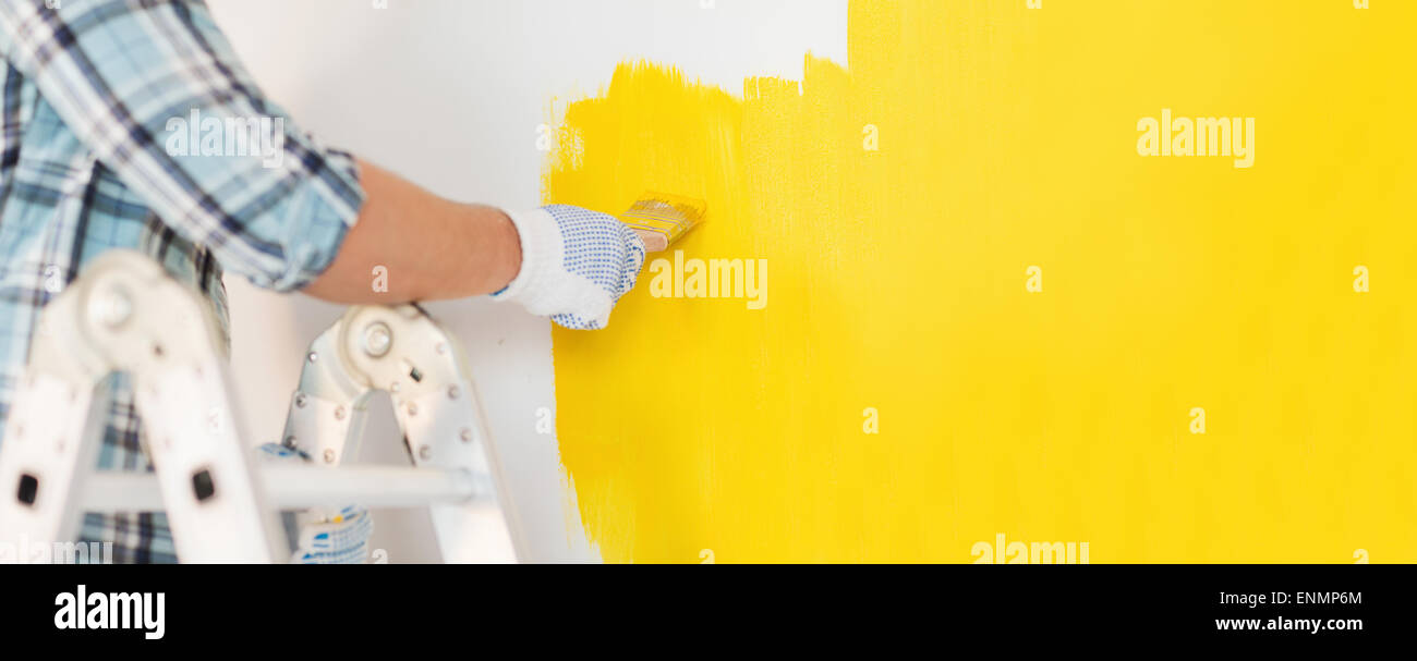 House Painter Working Up Ladder Stock Photos & House Painter Working ...