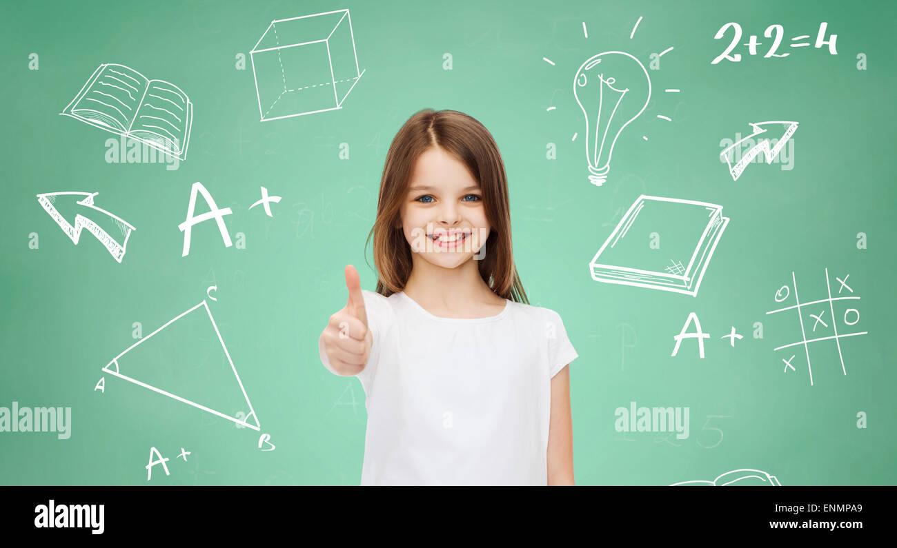 smiling little girl in white blank t-shirt - Stock Image