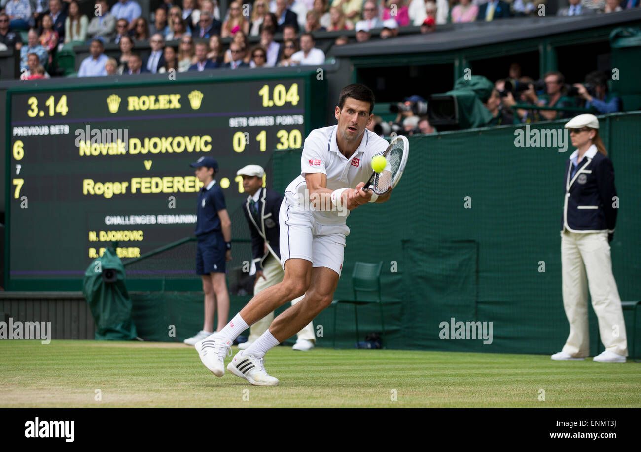 Novak Djolovic during the Mens singles final  The Championships Wimbledon 2014 The All England Lawn Tennis & - Stock Image