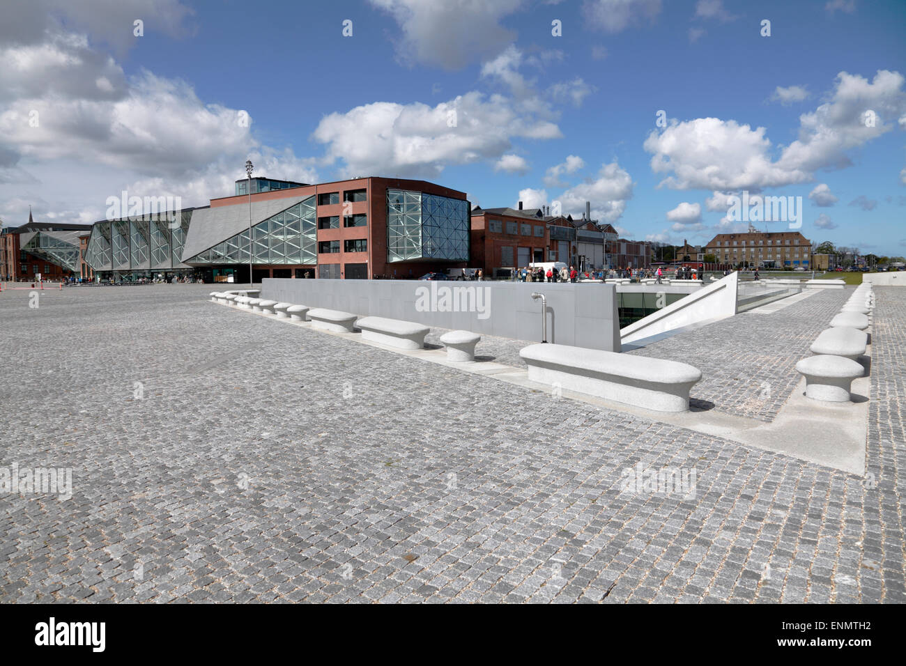 The underground Danish Maritime Museum next to the Culture Yard in Elsinore / Helsingør, Denmark. Bollards - Stock Image