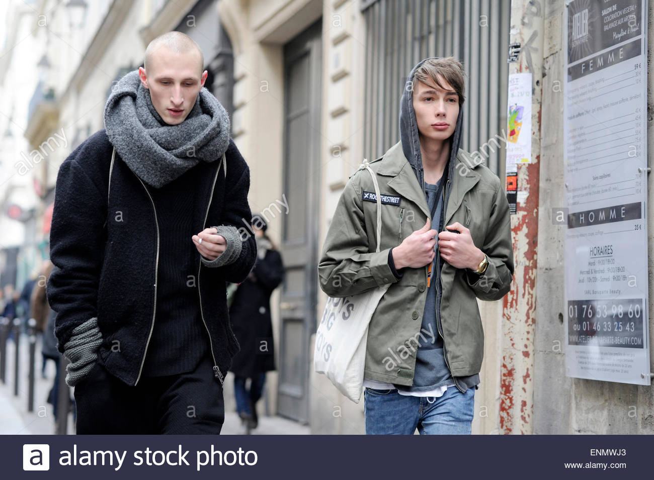 Male models after Lanvin mens ready to wear, at Paris Mens Fashion Week PFW FW15/16. - Stock Image