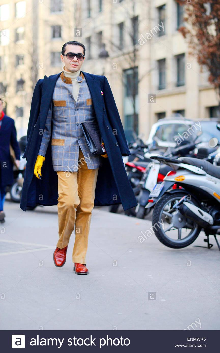 Mens fashion Week, PFW FW15/16 menswear, Street Style Fashion. Paris France. - Stock Image