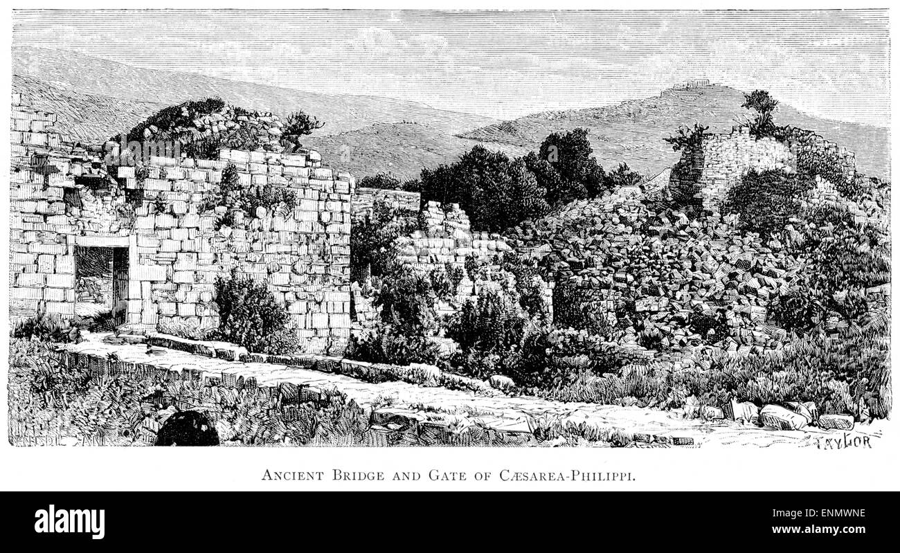 An engraving of the Ancient Bridge and Gate of Caesarea Philippi scanned at high resolution from a book printed - Stock Image