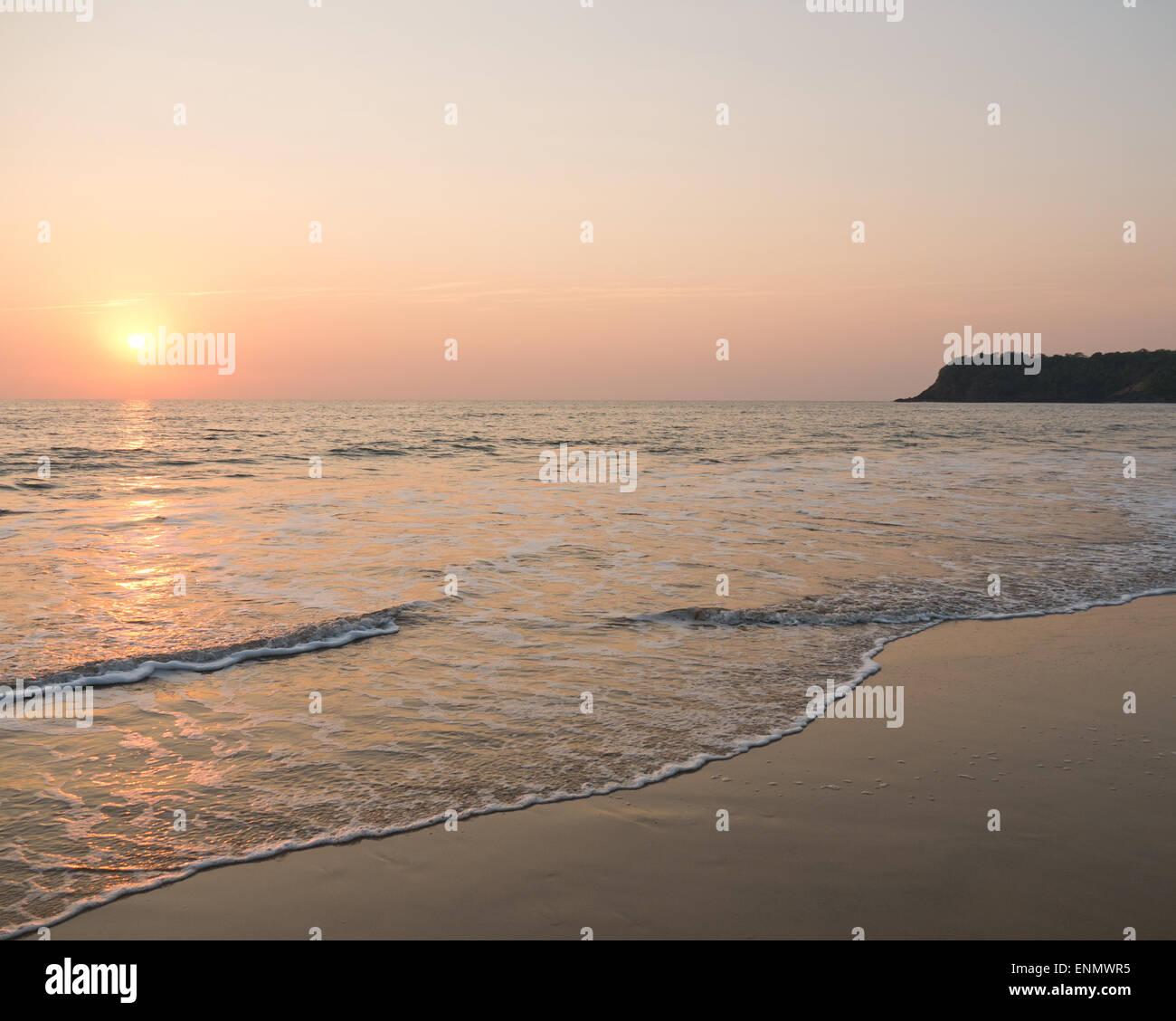 Agonda beach in Goa South India at sunset Stock Photo