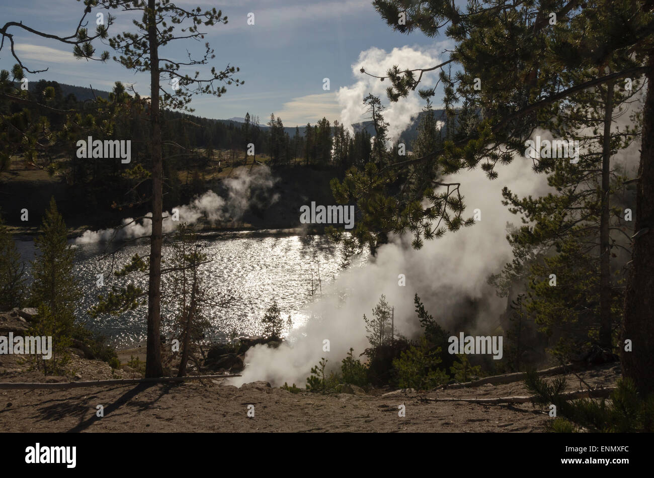 Fumaroles along the Yellowstone River belch steam, Yellowstone National Park, Wyoming - Stock Image