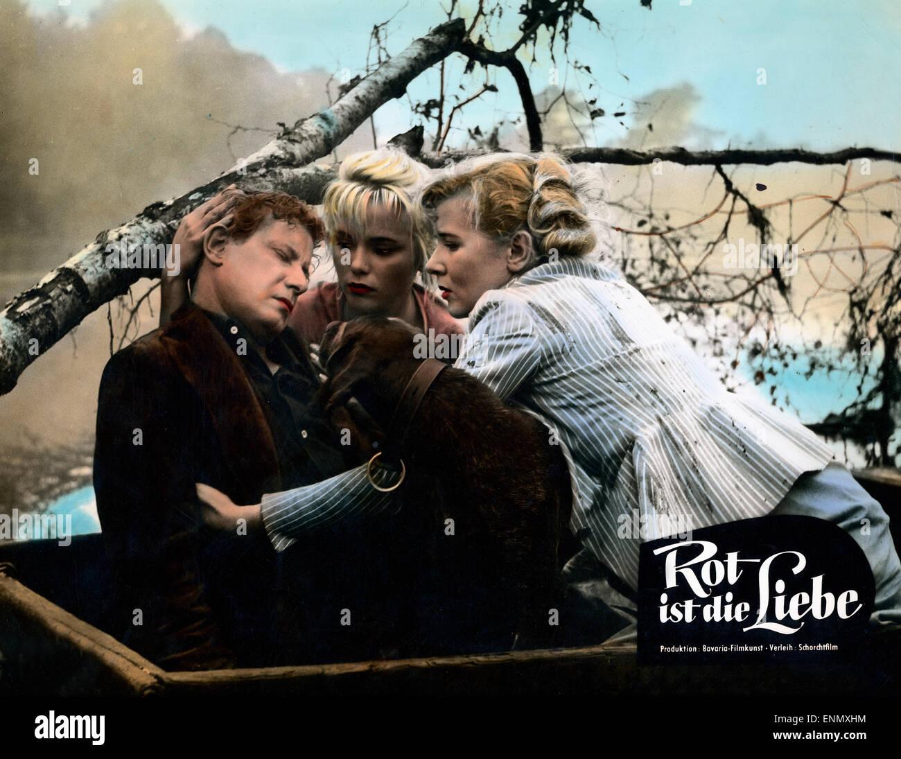 Rot ist die Liebe, Deutschland 1957, Regie: Karl Hartl, Darsteller: Cornell Borchers, Dieter Borsche, Susanne Kramers - Stock Image