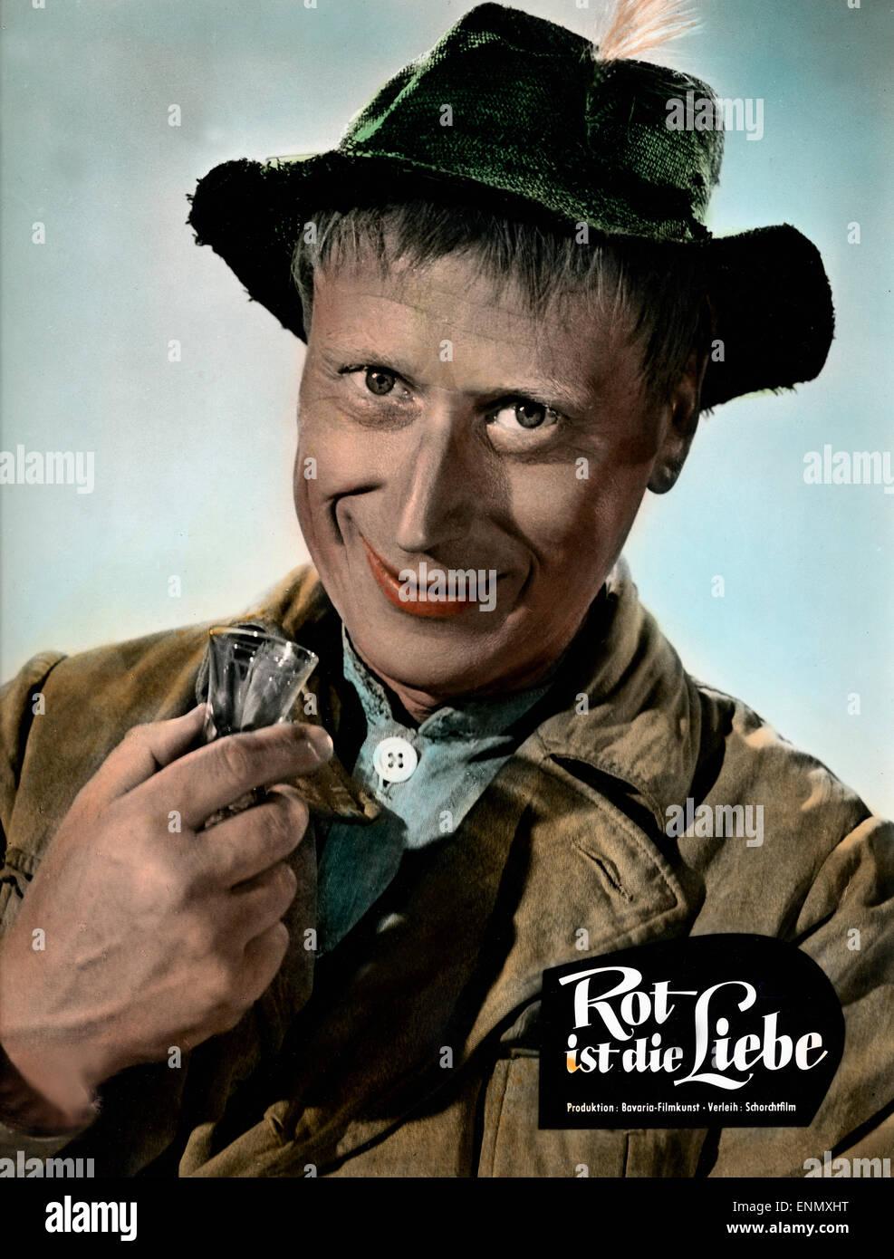 Rot ist die Liebe, Deutschland 1957, Regie: Karl Hartl, Darsteller: Günther Lüders - Stock Image