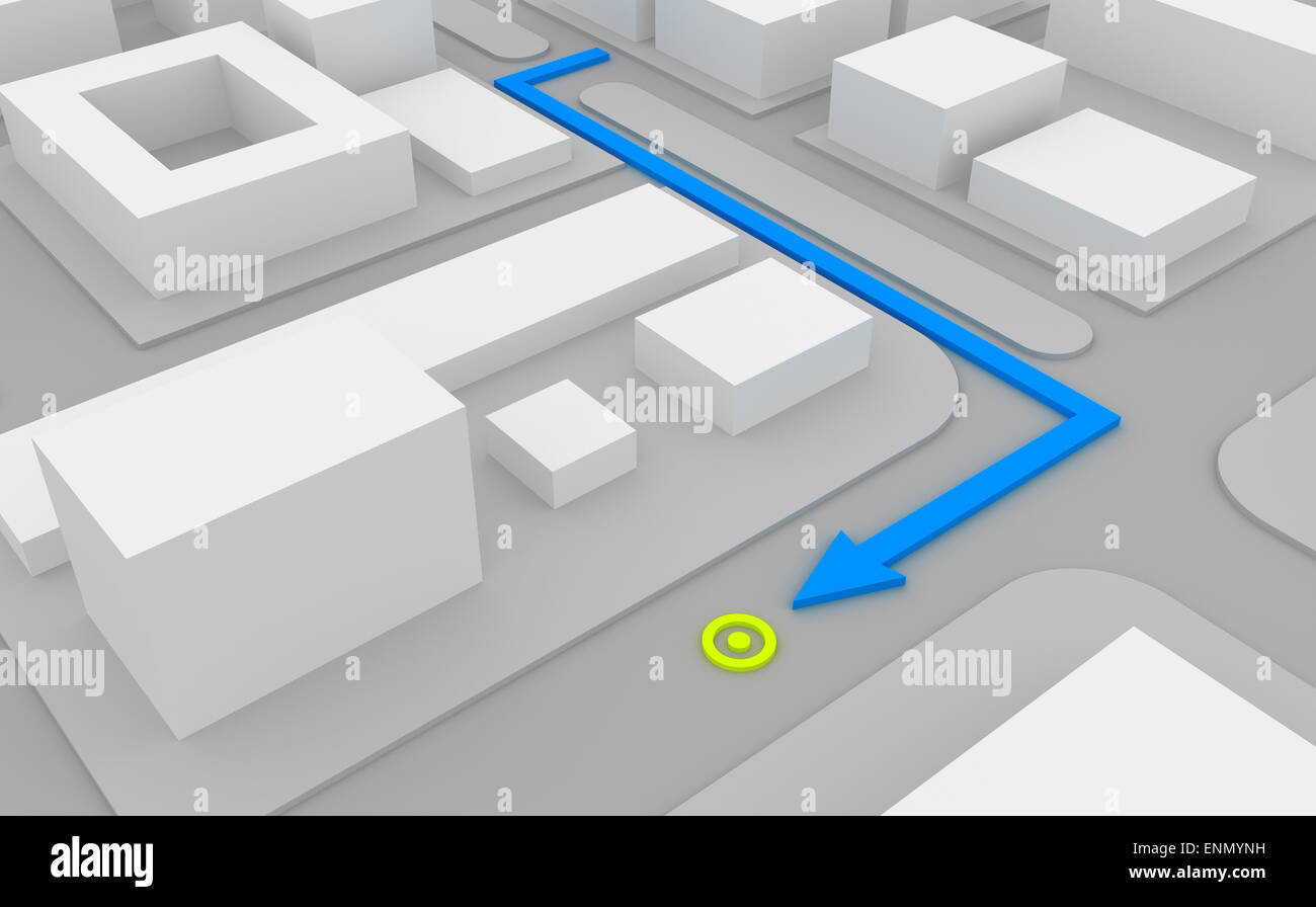 Navigation route on 3d map - Stock Image