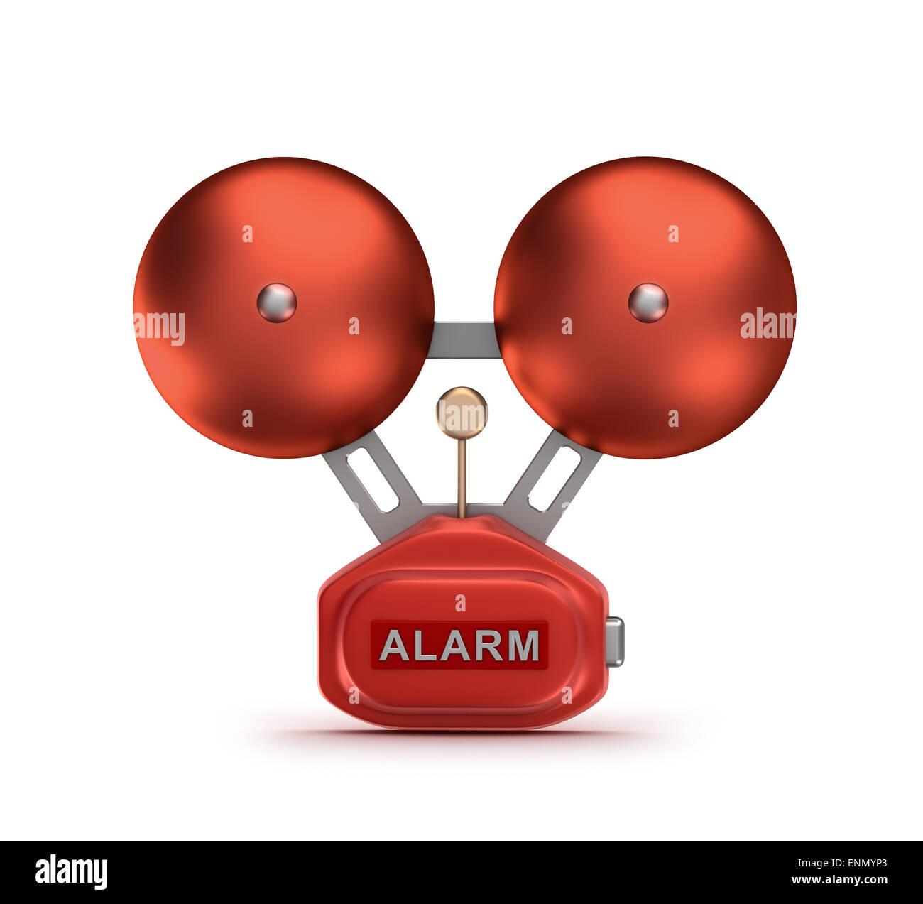 Red fire alarm bell ringer - Stock Image