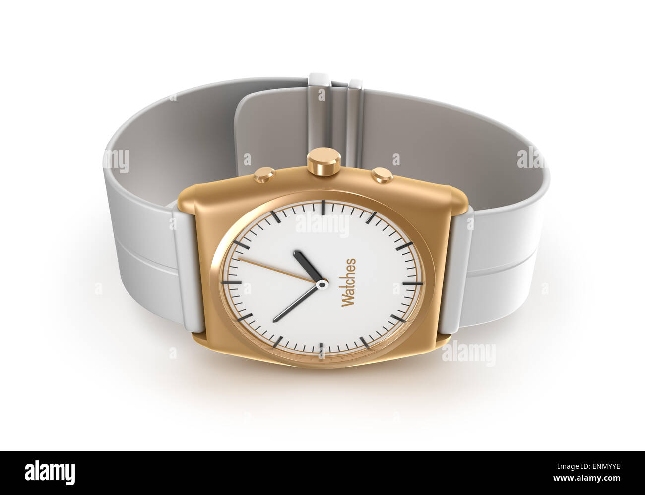 Golden wrist watch. My own design. - Stock Image