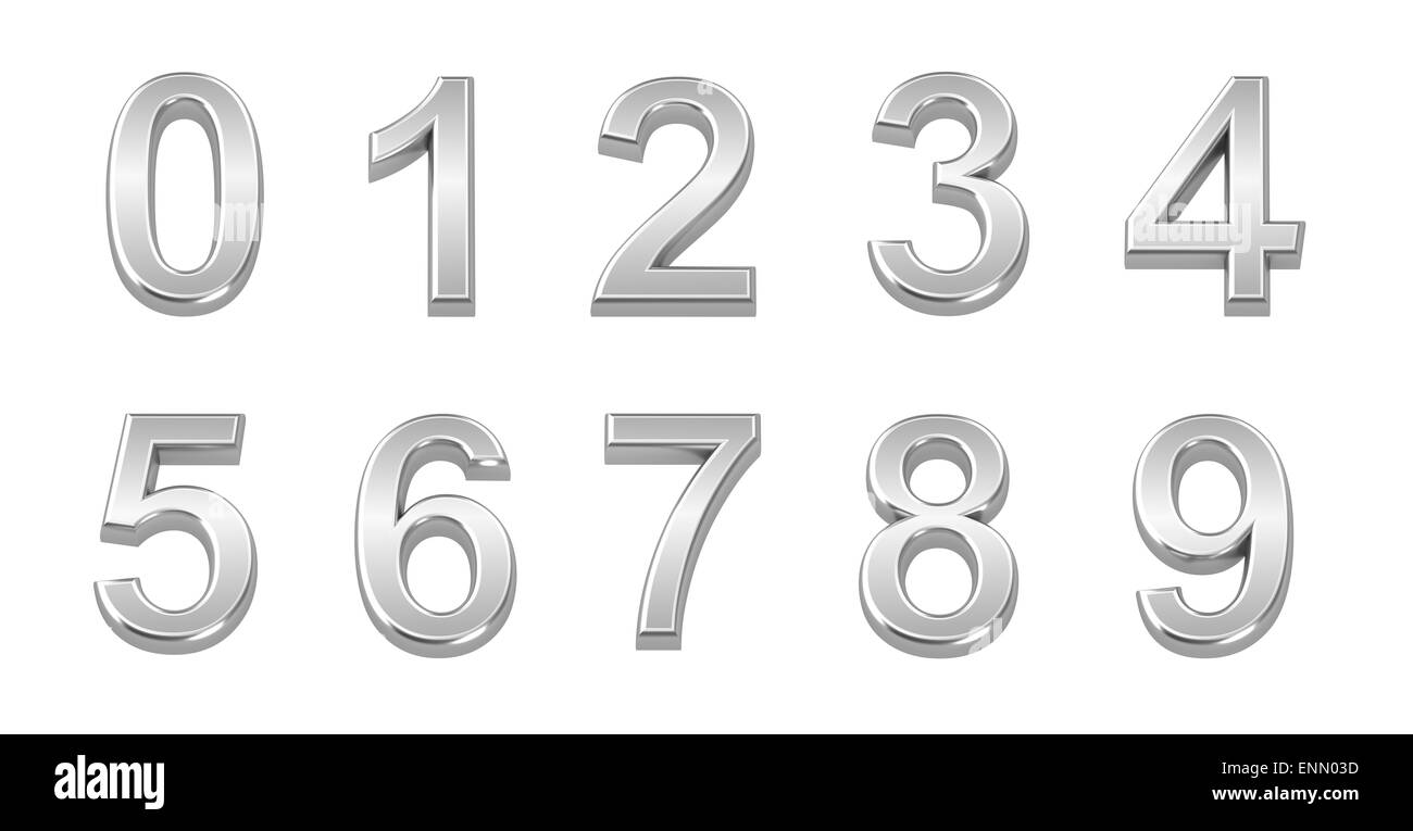 3D chrome numbers set from 0 to 9 - Stock Image