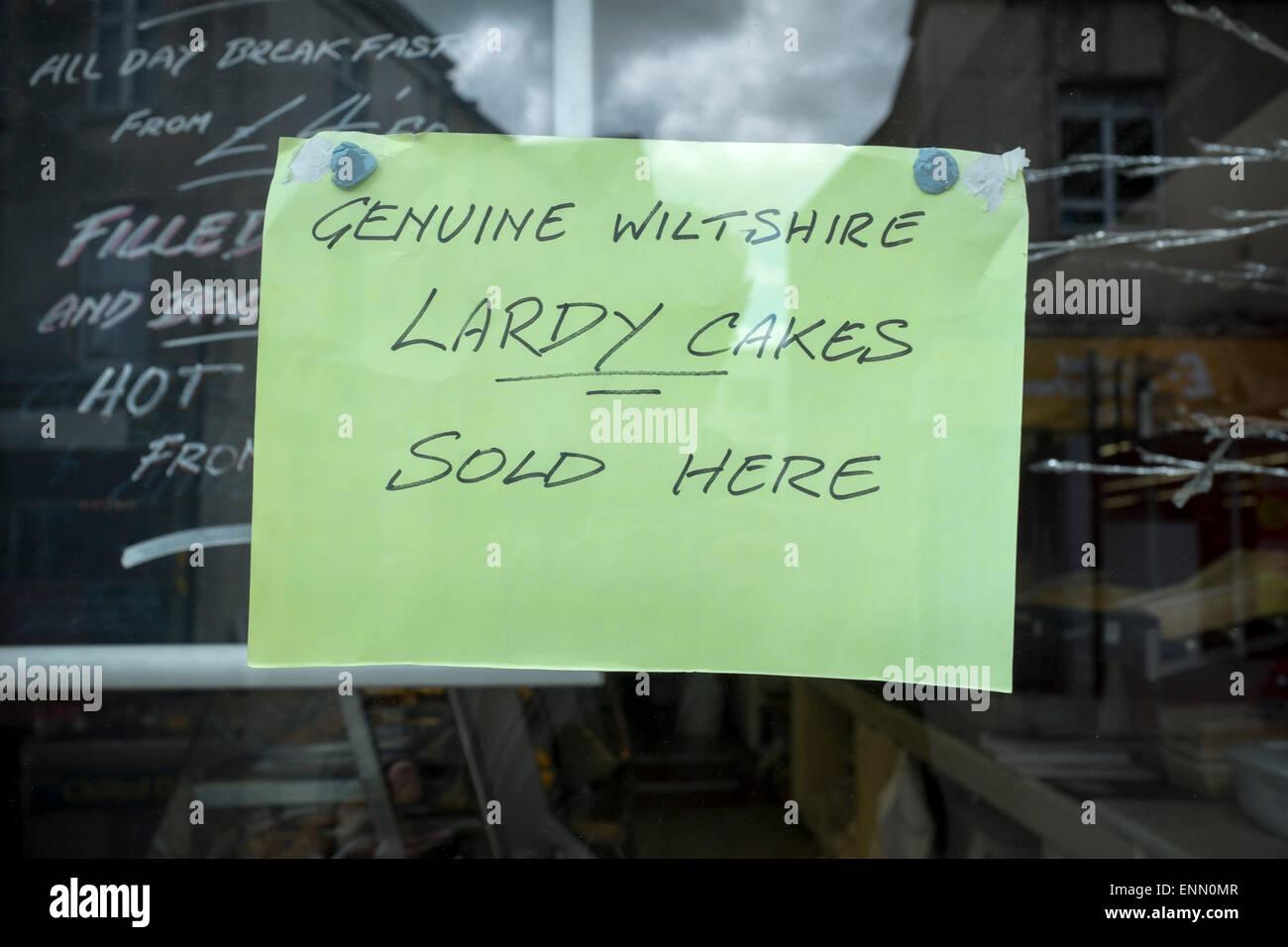 Bakery Shop Window Sign Advertising Genuine Wiltshire Lardy Cakes