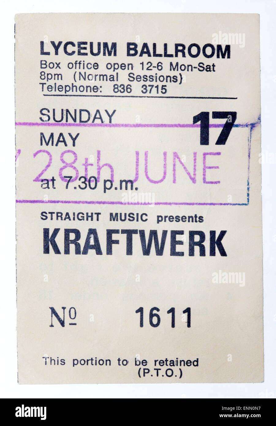1980's Kraftwerk Concert Ticket - Lyceum London Stock Photo