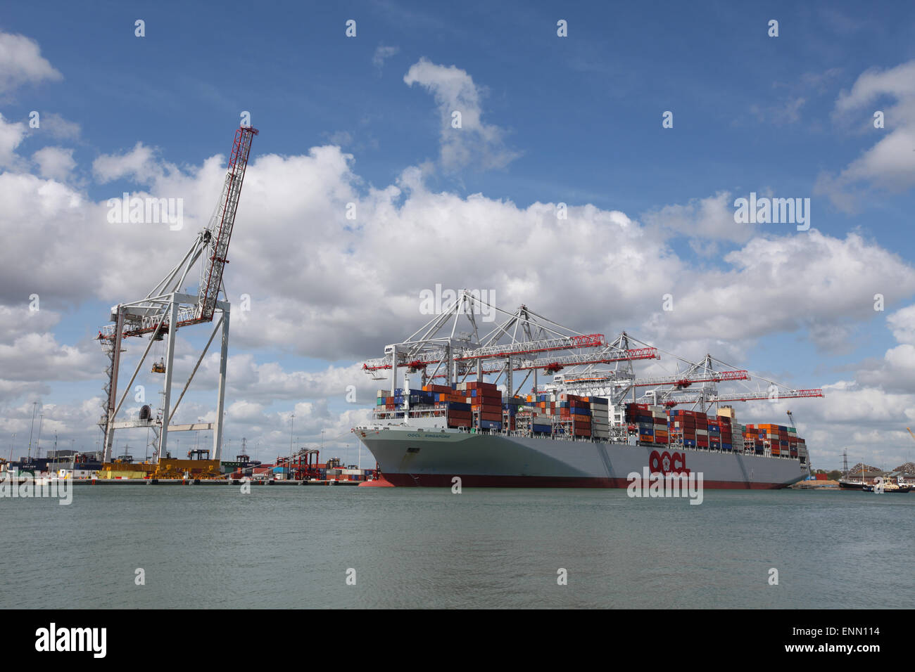 Container ship OOCL Singapore pictured in Southampton Docks Container Port - Stock Image