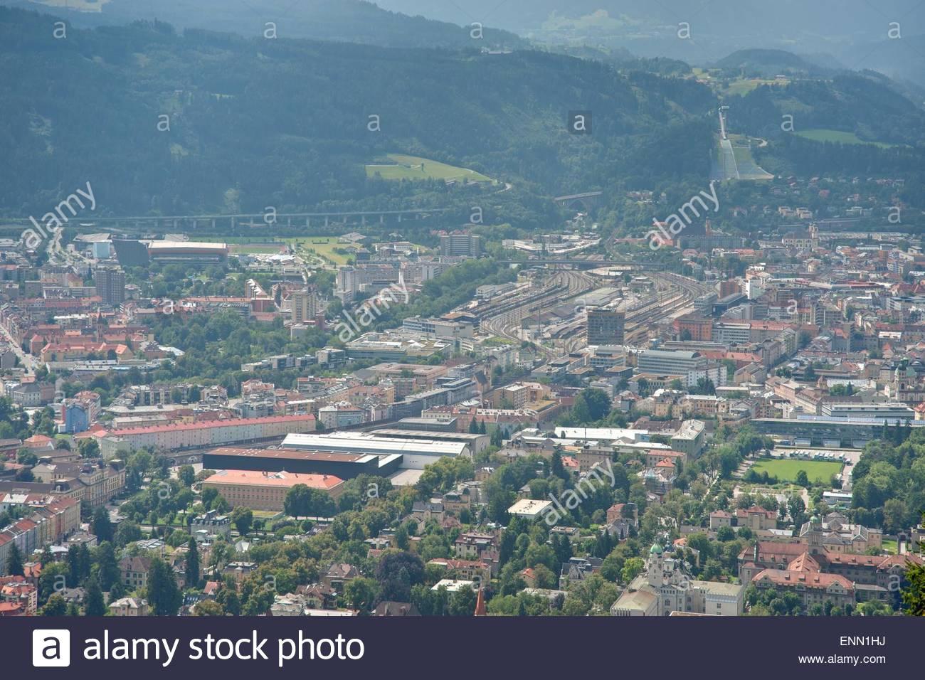 Innsbruck, Panorama mit Blick auf die Nordkette - Stock Image