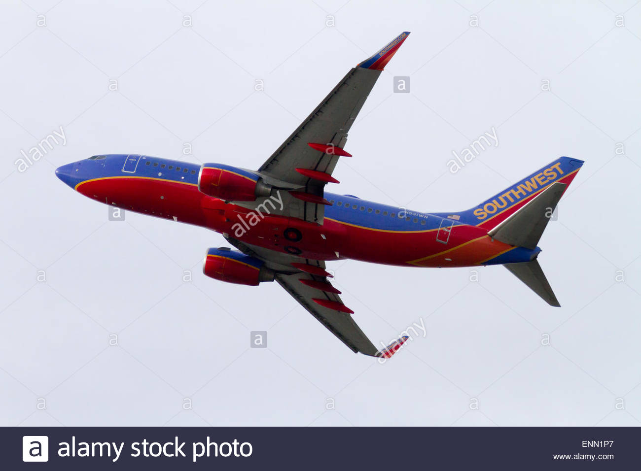 93adc60dfc2b A Southwest Airlines 737 is seen taking off from Seattle-Tacoma  International Airport - Stock