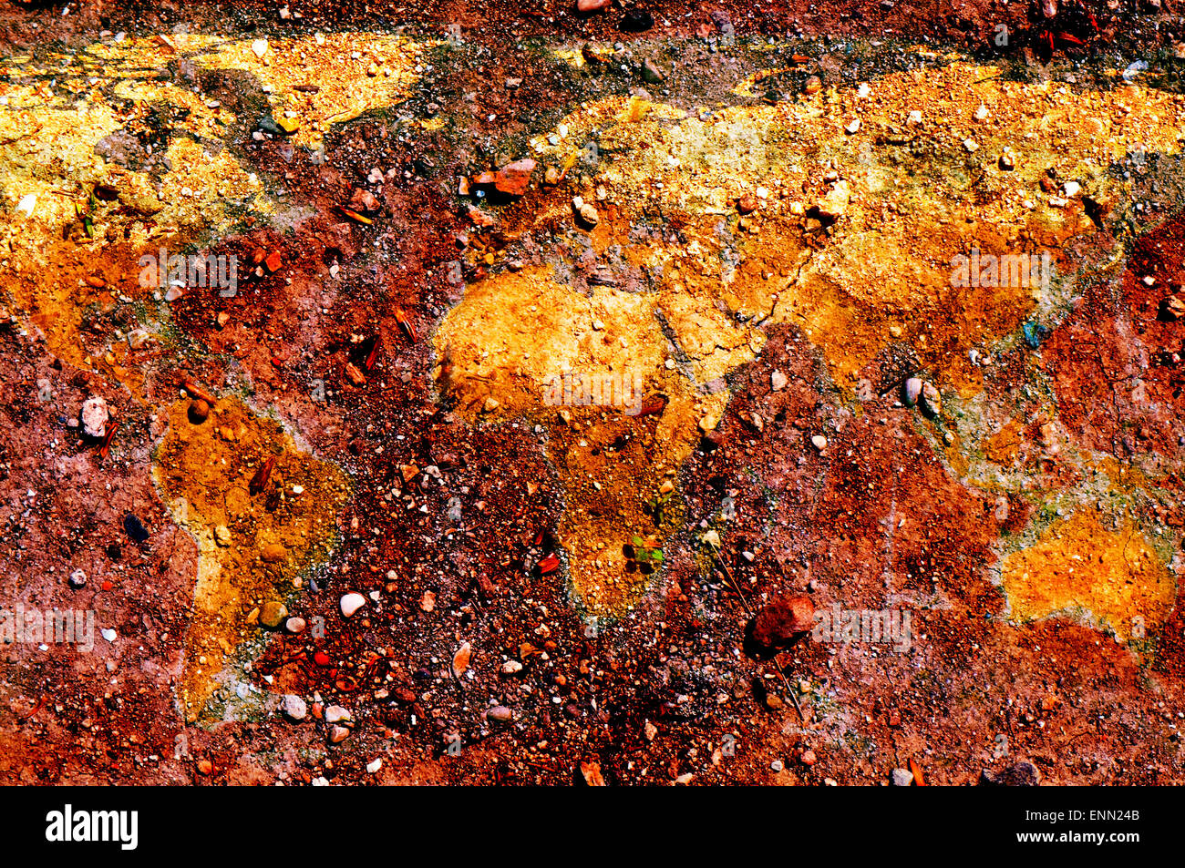 the world map depicted on the ground - Stock Image