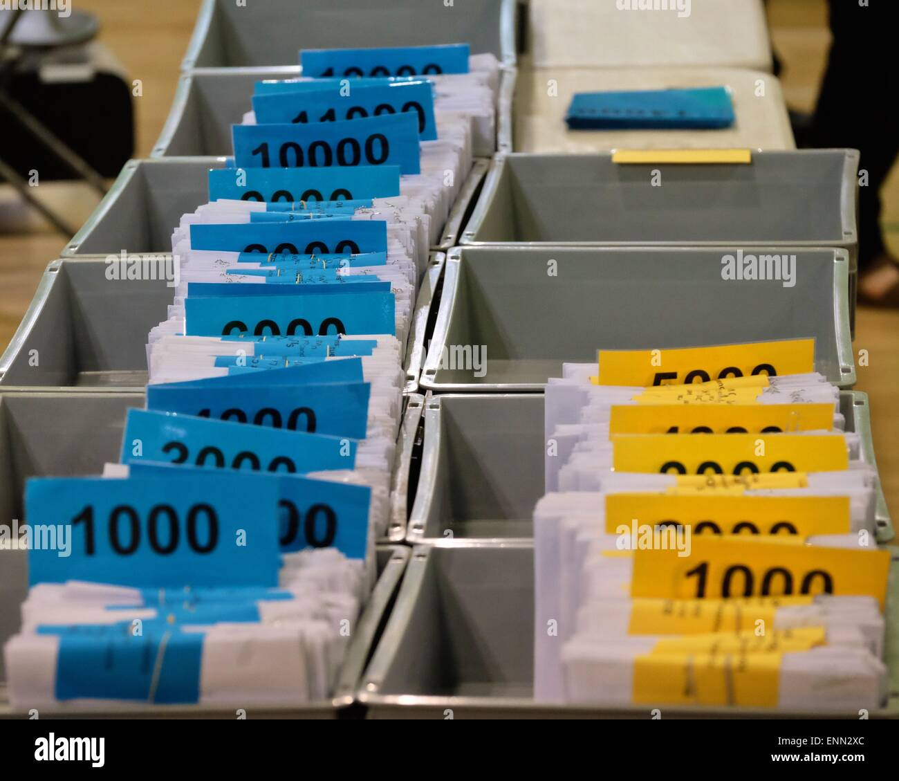 Dorchester, Dorset, UK. 8 May 2015. Counted ballot papers stack up in the Conservatives favour during the West Dorset - Stock Image